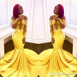 Backless Lace Light Yellow Dress Australia - 2019 Yellow Mermaid Prom Dresses Lace Applique Off Shoulder Long Sleeves Backless Sweep Train Zipper Formal Evening Party Wear PROM DRESSES