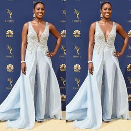 Blue Chiffon Jumpsuits Australia - Delicate Light Blue Jumpsuits Evening Dresses 2019 Beaded Deep V Neck Formal Prom Gowns Cheap Chiffon Beach Runway Celebrity Dress Pants