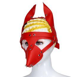 Slave Leather Head Mask NZ - New Red Leather Dog Bdsm Mask Bondage Restraints Hood Cosplay Mask Slave Head Harness Fetish Flirting Sex Toys for Women