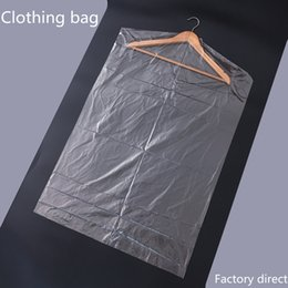 Discount plastic wardrobe bags - 10pcs Lot Plastic Transparent Dust Cover Garment of Clothes Hanging Pocket Storage Bag Wardrobe Hanging Clothing clothes