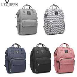 Wholesale 2019 Lequeen Nursing Backpack Bag Stripe Diaper Bag Large Capacity Travel Nappy Organizer Waterproof Maternity Patchwork