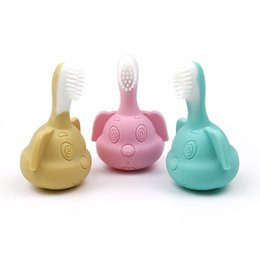 Baby Silicone Toothbrush Australia - Silicone baby products baby silicone toothbrush molar stick toy puppy silicone bite music molar stick non-toxic BPA