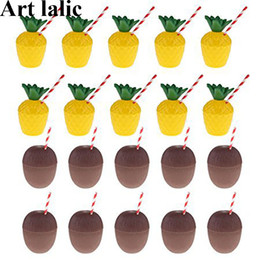 CoConut deCor online shopping - 12Pcs Plastic Pineapple Coconut Drinking Cup Fruit Shape Juice Party Cups Hawaii Luau Birthday Summer Beach Pool Party Decor