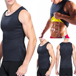 Discount ultra slim corset - Summer Men Fitness Gym Tank Tops Ultra thin Sweat Shirt Body Slimming Corset O-Neck Bodybuilding Sport Running Vest