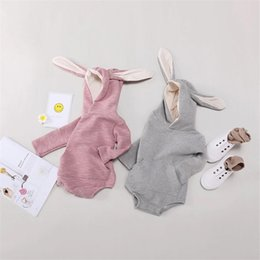 hooded headband Australia - New Spring Fall INS Infant Baby Boys Girls Hoodies Rompers Blank Bear Hooded Straps Jumpsuits Long Sleeve Newborn Onesies for 0-2T