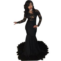 $enCountryForm.capitalKeyWord UK - Sexy Appliques Black Prom Dresses 2019 Mermaid Scoop Neck Long Sleeves Party Gowns African Black Girls Formal Wear Long
