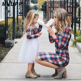 $enCountryForm.capitalKeyWord NZ - Mvupp Mother Daughter Dresses Fall 2019 Family Matching Outfits Mommy And Me Girls Long Sleeves Stripe Plaid Shirt Lady Clothes Y190523