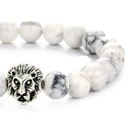 $enCountryForm.capitalKeyWord Australia - Hot Sale Natural Brazil White Turquoise Lion Head Bead Bracelet Alloy Jewelry Elastic Rope
