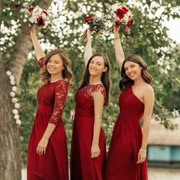 $enCountryForm.capitalKeyWord Australia - Ever Pretty Burgundy Bridesmaid Dresses Long Chiffon Applique Cheap Floor Length Wedding Bridesmaid Gown Formal Party Gowns S19713