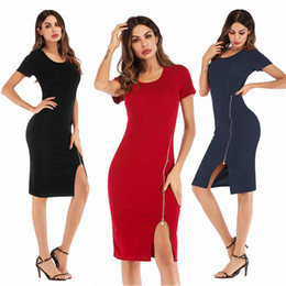 a18c551f3d Short Sleeve Zipper Bodycon Dress for Women Hot Sale Summer Pencil Dress  Fashion Sexy Busienss Office Dresses Party Club Package Hip Dress