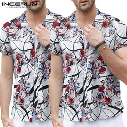 fashion man summer streetwear Australia - INCERUN Summer Fashion Men Floral Printed Short Sleeve Lapel Shirt Comfort Hawaiian Beach Casual Button Mens Blouse Streetwear