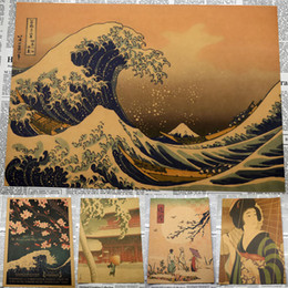 japanese wall stickers 2019 - Nostalgia Japanese old style Kraft Paper vintage poster Wall Poster Art Crafts Cafe Bar Decor Sticker Retro print discou