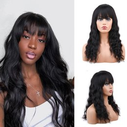 $enCountryForm.capitalKeyWord Australia - 9A Brazilian Virgin Hair Glueless Lace Front Human Hair Wigs with Bangs Wavy 130% Density Pre Plucked Full Lace wigs