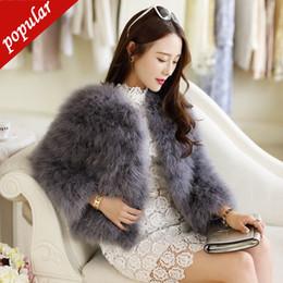 $enCountryForm.capitalKeyWord Australia - Hot Sale New Women Autumn Winter Short Thick Slim O-neck Full Sleeve Single Breasted Solid Ostrich Feather Fur Coat