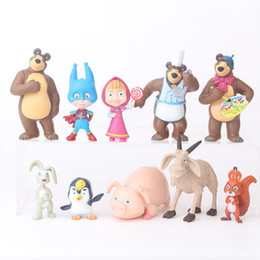 $enCountryForm.capitalKeyWord NZ - 2019 10pcs set Masha & Friends Rabbit Squirrel Penguin Goat Pig PVC Model Figures Toys for Children