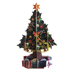 colorful christmas cards 2019 - Souvenirs Wishes Greeting Card 3D Pop Up Cards Christmas Tree Postcard Colorful Handmade Paper Birthday Card Party Carte