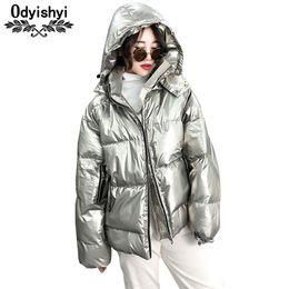 $enCountryForm.capitalKeyWord NZ - Fashion Metallic Silver Glossy Jackets Women 2018 Winter Warm Down Cotton Coat Hooded Parka Solid Color Short Jacket Female H348