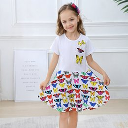 Wholesale military green white clothing online – design Summer Girl Dress Designer Cute Baby Dress for Party Short Sleeve Tunic Children Clothing Cotton Clothes for Girls