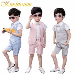$enCountryForm.capitalKeyWord NZ - Kindstraum New Boys Plaid Formal Suits Summer 4pcs Kids Plaid Vest+shirt+pant+tie Children Wedding Party Clothing Sets, Mc715 J190706