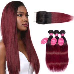 $enCountryForm.capitalKeyWord Australia - Ombre Grade 8a Mink Brazilian Straight Human Hair bundles With 4x4 Lace Closure 1B 99J color straight wefts Products extensions