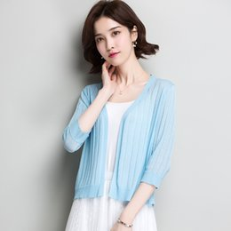 $enCountryForm.capitalKeyWord Australia - New Arrival summer spring ladies hollow knitwear elegant female solid color thin knit cardigan