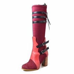 Fitted Boots Australia - autumn winter women knee high boots mixed color stretch fabric slim fit long boots round toe chunky high heel platform boots mujer