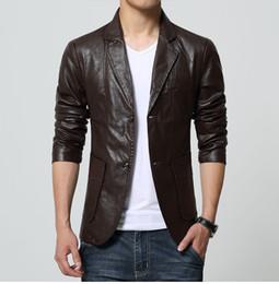 Plus size formal blazers online shopping - Mens Business Casual Faux Leather Blazer Men Black Brown Red White Khaki Formal Pu Leather Blazer for Men Plus Size Coat XL XL T190917