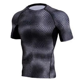 China Compression Shirts Men 3D Printed T-shirts Short Sleeve Fitness Base Layer Tights Mens Crossfit Tops MMA Rashguard Brand Tees cheap mens lycra tights suppliers