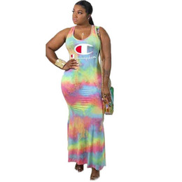 d2f80ecce38 Rainbow Maxi Dresses UK - Champion Women Gradient Cross Back Strap Dresses  Tie Dye Colored Rainbow