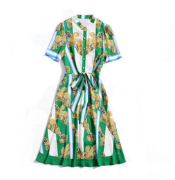 Ribbon Print Australia - 2019 Spring Summer Short Sleeve Crew Neck Vintage Print With Ribbon Tie-Bow Sash Mid-Calf Length Dress Luxury Runway Dresses A062302