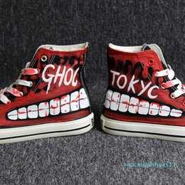 hand painting canvas shoes NZ - Hip-hop street dance Tokyo Ghoul Graffiti Canvas Shoes Spring Hand Painted Shoes Halloween Breathable Sneakers