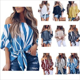 knotted shirts Australia - T-Shirt Off Shoulder Flare Sleeve Tops Women Clothes Summer Striped Knotted Blouses Bowknot Slim Tees Casual Blusas Costume Vestidos C5517
