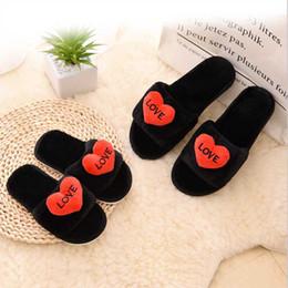 $enCountryForm.capitalKeyWord Australia - Cartoon Love Fluffy Women Slippers Patchwork Thicken Anti Slip Flip Flops Casual Plush Warm Slippers Fashion Woman Shoes