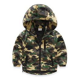 years baby jackets NZ - 2019 Spring Autumn 2-8 10 Years Children Sports Long Sleeve Baby Zipper Tops Outwear Kids Boys Camouflage Outdoor Hooded Jacket