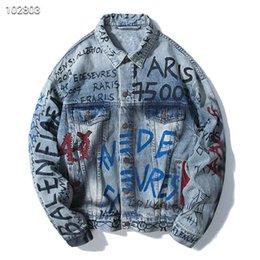 $enCountryForm.capitalKeyWord Australia - Denim jacket men and women loose denim clothing skull doodle print jacket youth student jacket tide brand autumn and winter new coat GU5