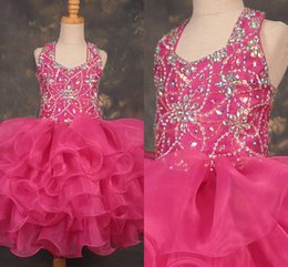 $enCountryForm.capitalKeyWord Australia - Sweety Hot Pink Ruffles Organza Halter Little Girls Pageant Dresses 2020 Ball Gowns Baby Girls Teen Kids Toddler First Communion Graduation