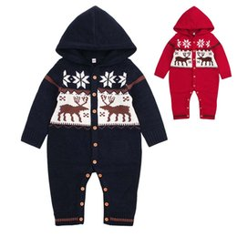 Toddler Christmas Boy Australia - Christmas Knitted Baby Jumpsuit Bodysuit Hooded Newborn Infant Toddler Winter Body Child Kids for Boys Girls B0017 Body Suit Long Sleeve
