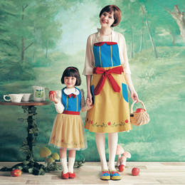 Pinafore Dresses NZ - RuifGlasb Baby Waterproof Apron for dinner and Drawing Princess mermaid snow white oil-proof pinafore Cute snow queen and Anna dress