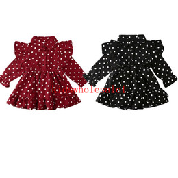 casual military clothing NZ - 1-7Y Toddler Baby Girls Dress Clothes Princess Long Sleeve Ruffle Swing Dress Dot Print Casual Outfits