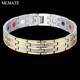 Wholesale Fashion Men Women Healthy Magnetic Bracelet Stainless Steel Power Therapy Magnets Bangles Hand Chain Lovers Gift