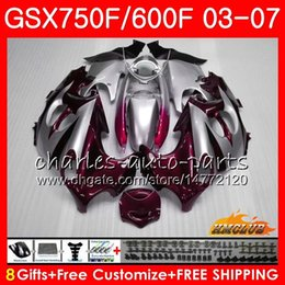 gsxf fairings UK - Body For SUZUKI KATANA dark red silver SXF750 GSX600F GSX750F GSXF600 3HC78 GSXF 750 600 03 04 05 06 07 2003 2004 2005 2006 2007 Fairing kit