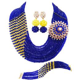 $enCountryForm.capitalKeyWord Australia - Fashion Royal Blue Yellow African Wedding Beads Nigerian Necklace Crystal Bridal Party Jewelry Sets for Women 10JZ11