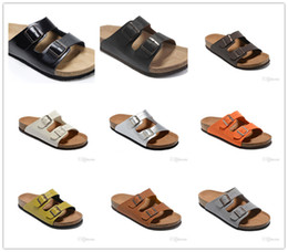 Colour heels online shopping - Various colours Genuine Leather Slippers Men Flat Shoe Women Sandals with Buckle Famous Brand Arizona Summer Beach high Quality With Box