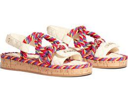 $enCountryForm.capitalKeyWord NZ - Hot Branded Women Print Letter Cord Fabric Sandal Fashion Lady Hook Strap Loop Open Toe Rubber Sole Casual Sandals