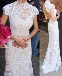 $enCountryForm.capitalKeyWord Australia - 2019 Full Lace Mermaid Wedding Dresses Capped Sleeves High Collar Bridal Gowns Sexy Open Back Buttons Long Wedding Party Dress
