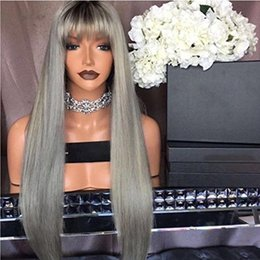 $enCountryForm.capitalKeyWord Australia - New style 1btgrey with bang Human Hair Full Lace Wigs silky straight Lace Front Wig For Black Women Ombre Lace Wigs no shedding