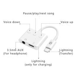 $enCountryForm.capitalKeyWord Australia - 2 in 1 Adapter connector 3.5mm Aux Jack Headphone Earphones Audio Splitter Charging Music wire control talk For iphone 7 8plus XS Max
