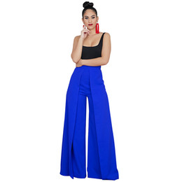 Zipper High Waist Australia - Wide Legs Pants Women Baggy Pants Solid Color Splicing High Waist Zipper Loose Casual Trousers Female Office Workwear Sweatpants Y19051701