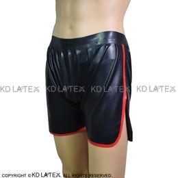 Vente en gros Noir avec des garnitures rouges Boxer en latex sexy avec poches Sous-vêtements en caoutchouc Sous-vêtements Pantalons