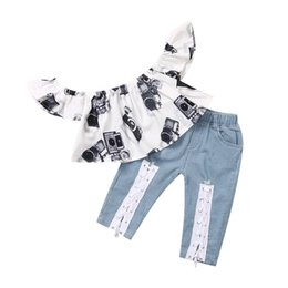 $enCountryForm.capitalKeyWord NZ - ARLONEET Child Baby Kid Girl Camera Printed Off Shoulder Tops +Jeans Pants Outfit Set For Baby Kids Boy Girl Clothing *18